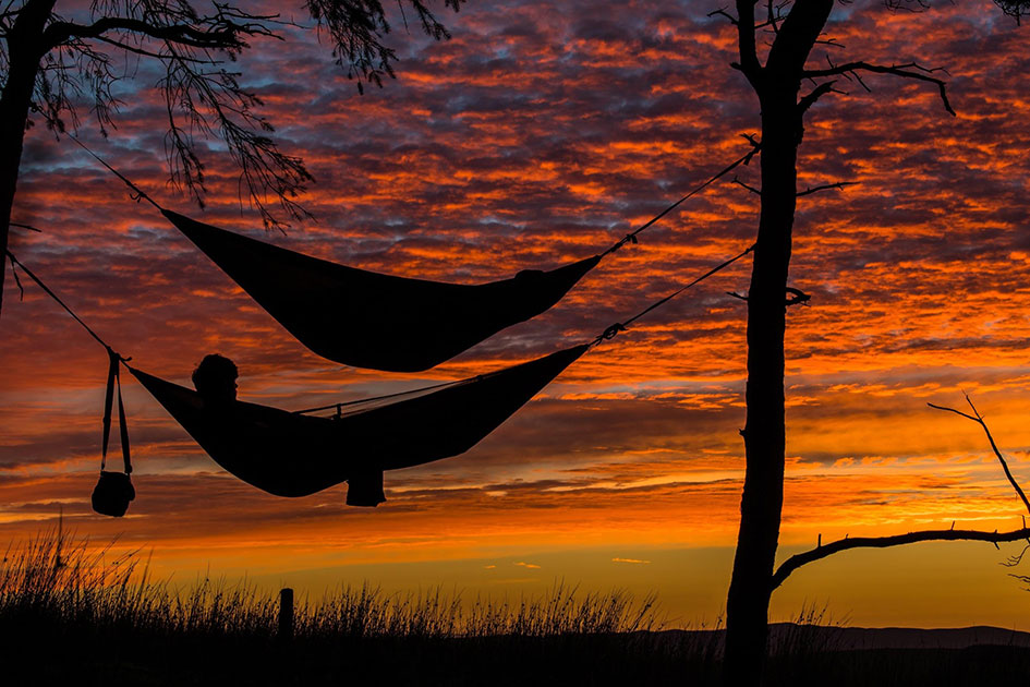 Sleeping on a hammock