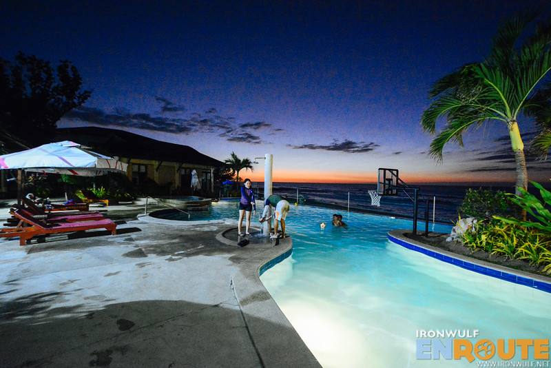 The Kahuna resort pool illuminated
