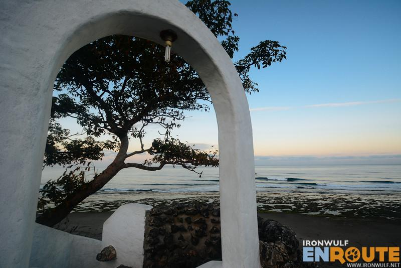 The arc and the calm shores of San Juan Beach